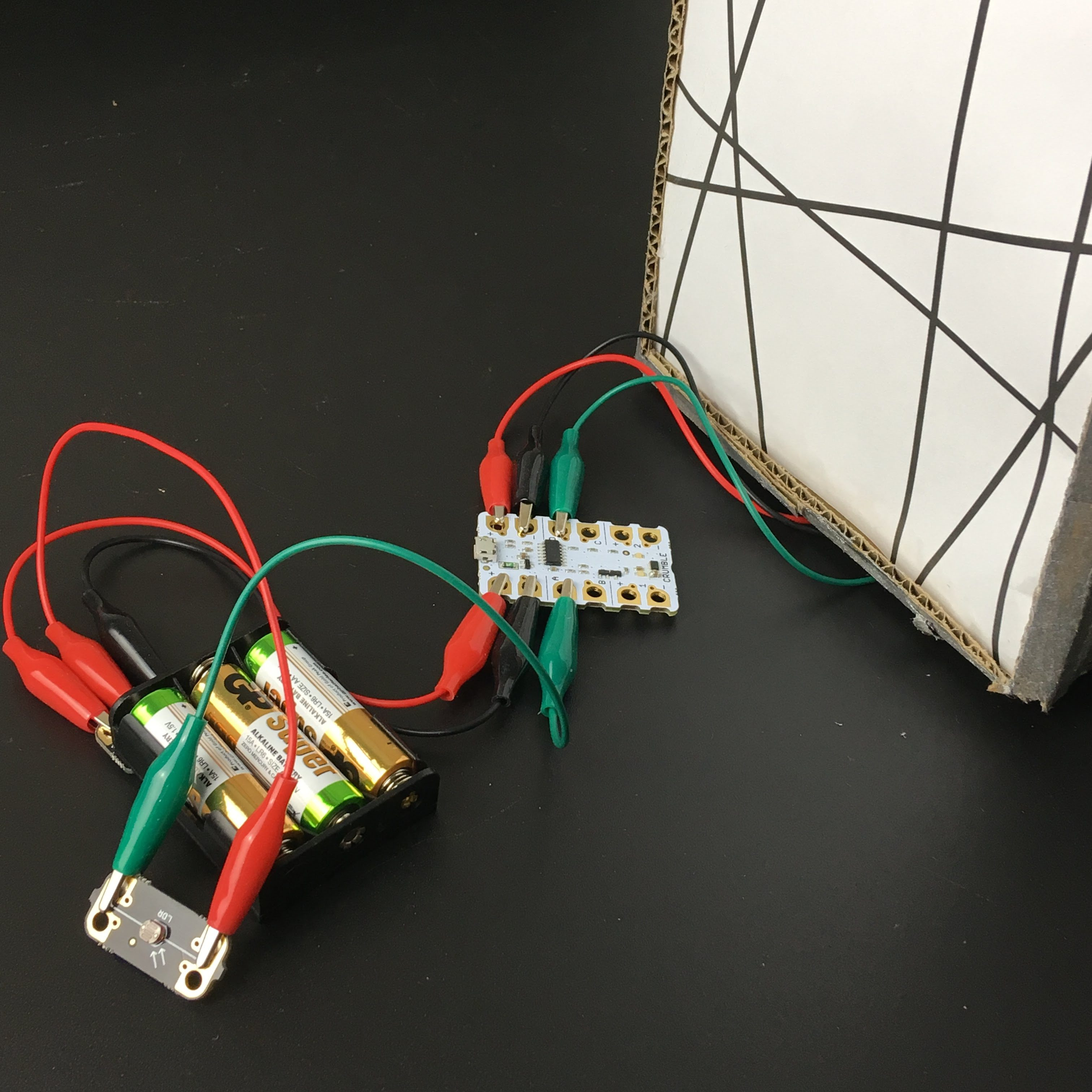Crumble Mindsets Online Simple Ldr Circuit Wiring Up The Was Enough After Connecting Sparkles Inside Shade We Connected A Light Dependent Resistor